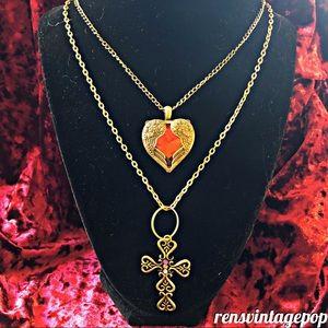 Angel Wing Heart & Byzantine Cross Necklace Duo